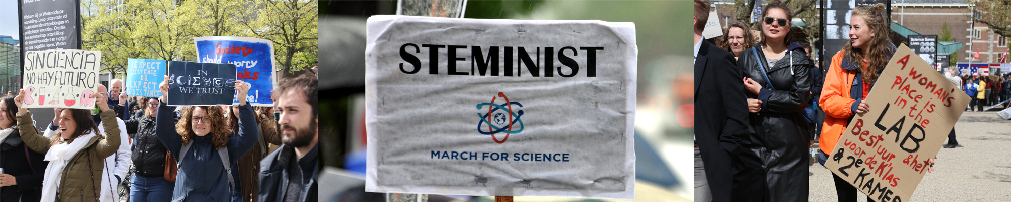 science, people protesting, signs: steminist - march for science, a woman's place is in the lab
